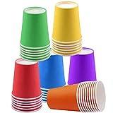 60 Piezas Vasos de Papel Desechables Tazas de fiesta, Vasos Carton de Colores...