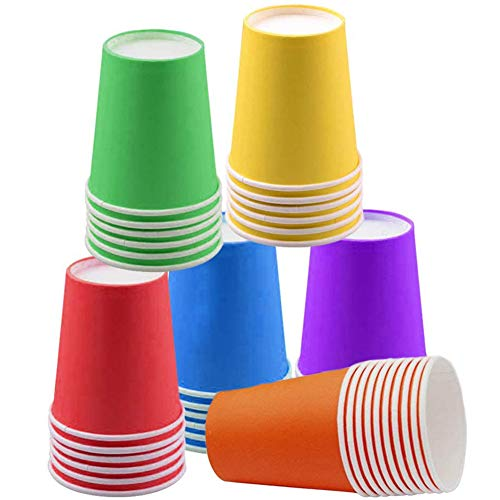 60 bicchieri di carta usa e getta per feste, 10 ml, biodegradabili per feste fai da te, vacanze, matrimoni, 6 colori
