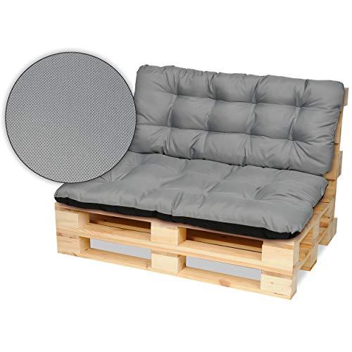 SuperKissen24 Palettenkissen Palettenauflagen Sitzkissen - 120x80 cm und Rückenlehne 120x50 cm - Outdoor und Indoor - grau