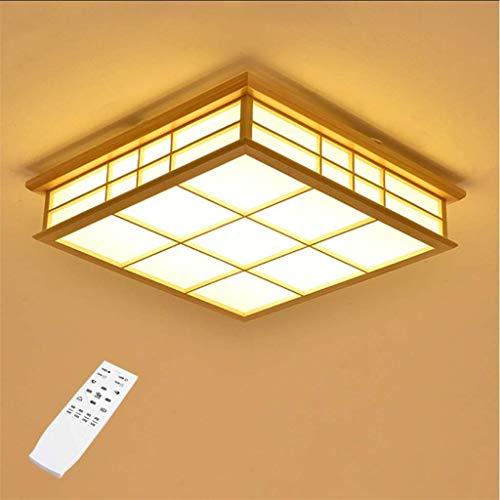 Techo del LED lámpara de madera clara cuadradas de roble lámpara del dormitorio lámpara de techo modernos regulación techo retro luz de techo de madera clara de estilo japonés 55cm 32w