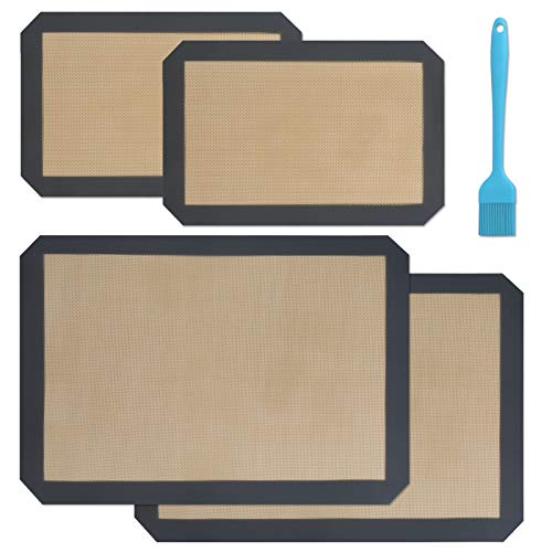 LHGOGO Set of 4 Silicone Baking Mats, 100% Non-Stick Food Safe Premium Durable - 2 Half Sheets Mat & 2 Quarter Sheet Liner with Silicone Brush for Macaron, Cookie, Pastry