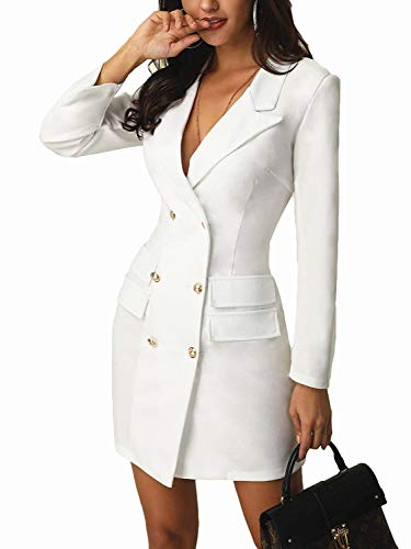 Carolilly Women's Breasted Blazer Dress DoubleElegant Long Sleeve Blazer Dress (White, S)
