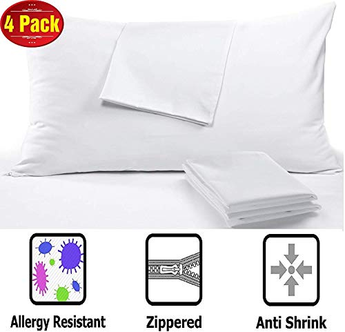Anti Allergy 4 Pack Pillow Protectors Queen 20 x 30' High 450 Thread Count Style Life Time Replacement Premium Sateen Tight Weave 3-4 Micron Pore Size Lab Tested Non Noisy Zipper Covers Breathable