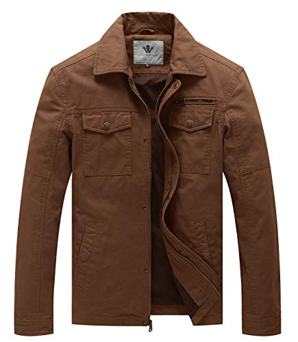 WenVen Men's Sportswear Cotton Military Lapel Jacket (Coffee,L)