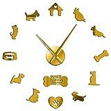 hufeng Reloj de Pared Scottish Terrier Reloj de Pared Grande Aberdeen Terrier Amo mi Pegatina DIY Reloj de Pared Grande sin...
