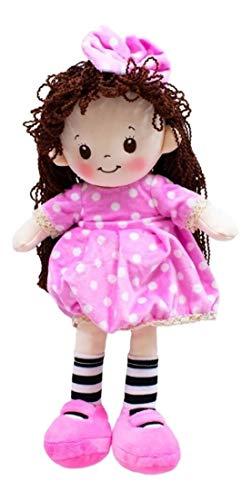Boneca com Meias Listradas - Rosa 35Cm, Foffylandia, Rosa