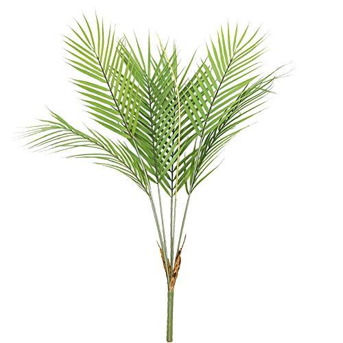 Aisamco Planta Artificial de Hoja de Palmera Tropical en Verde, 1 Planta de plástico de Palmera de Areca, 6 Hojas, 35 Pulgadas de Alto para arreglos Florales de Acento Tropical de vegetación