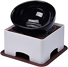 YMAXGO CeramicsTilted Single Food Feeding Bowl for French Bulldogs/Cats, Double Non-Slip Design