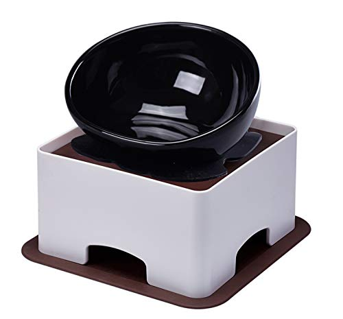 YMAXGO CeramicsTilted Single Food Feeding Bowl for...