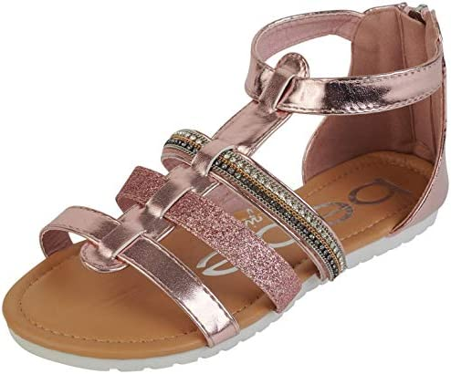 bebe Girls Glitter Strap Sandals with Heel Zip Closure Blush Size 12 product image