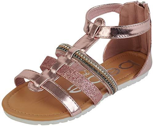 bebe Girls Glitter Strap Sandals with Heel Zip Closure, Blush, Size 13'
