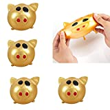 Longma Gold Pig Splat Ball Anti-Stress Decompression Sticky Stretchy Toys Bouncy Balls Slow Rising Squishy Toy Stress Relief Ball Tricky Toys for Adults Kids