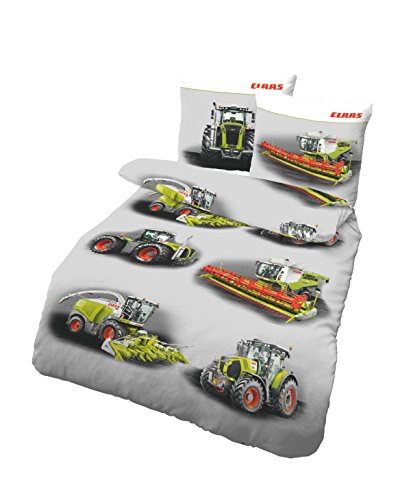 CLAAS Sommer Bettwäsche-Set von Dobnig | Qualitätsbettbezug aus 100% Baumwolle, Deckenbezug 135x200 cm, Kissenbezug-80x80 Bettbezug | CLAAS Landmaschinen
