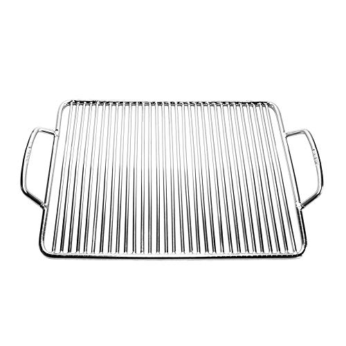 Grill factory - Square Stainless Steel BBQ Cooking Griller Grate 13.2 X 10.2 inch, Easy performer of Weber Go Anywhere chef Portable Campfire Smoker Grill Parts Accessory Outdoor Grill Cooker