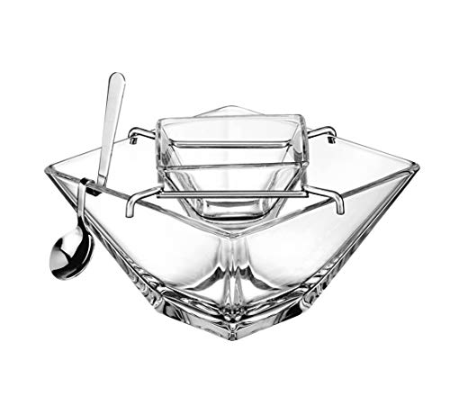 Barski - European Quality - Caviar Server With Spoon - Glass Divided Serving Dish Set - Bottom Bowl is 5.5