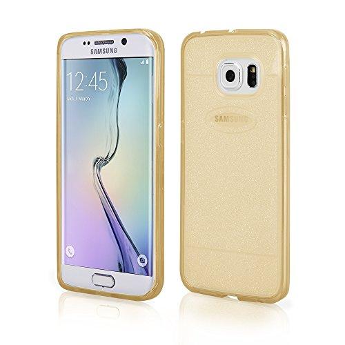 Carcasa Protectora, Silicona, para Samsung Galaxy S6 Edge, Transparente, Color Dorado
