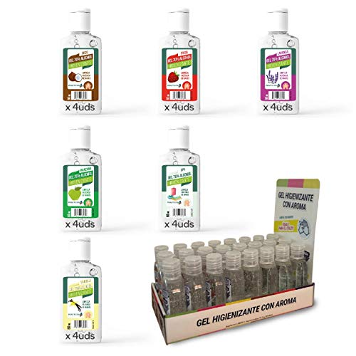 Expositor Gel Hidroalcohólico 70% alcohol 60 ml (6 aromas mixtos x 4 unidades), 24 unidades, Fabricado en España