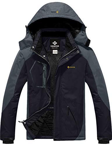 GEMYSE wasserdichte Skijacke für Herren Winddichte Fleece Outdoor-Winterjacke mit Kapuze (Schwarzgrau,L)
