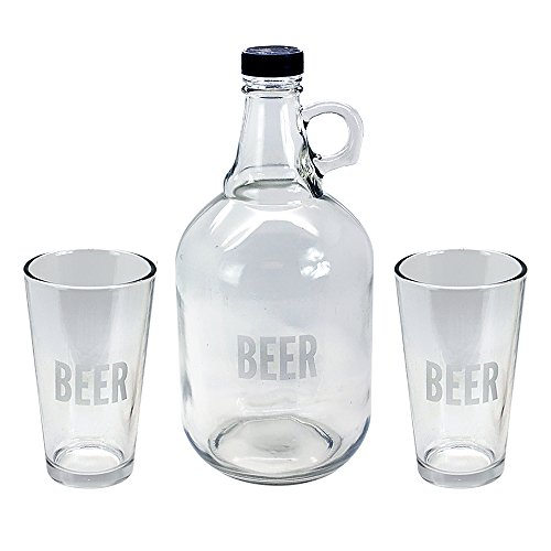 TMD Holdings Etched Beer Growler for Hipsters with Pints Craft Beer Taster Gift Set, Clear