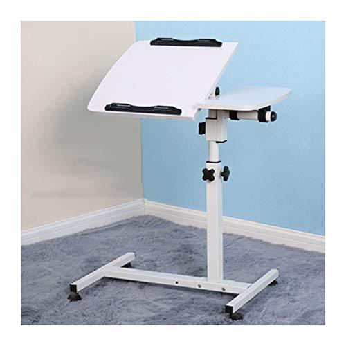 BMNN Pflegetisch Laptoptisch Beistelltisch Betttisch Höhe/Winkel Verstellbar Mit Rollen Bremsen Höhenverstellbare Tabelle (Color : White)