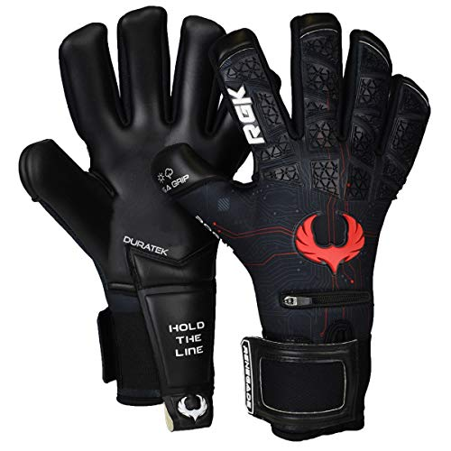 Renegade GK Limited Edition Rogue Quantum Goalie Gloves with Pro-Tek Fingersaves | 4mm Giga Grip & Neoprene | Black & Red Soccer Goalkeeper Gloves (Size 8, Youth-Adult, Negative Cut, Level 4+)