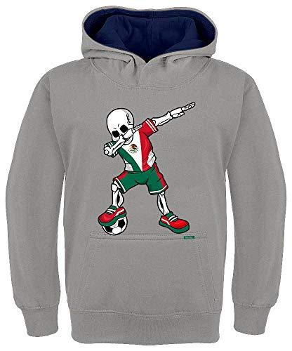 HARIZ Kinder Hoodie Kapuzenpullover Kontrast Fussball Dab Skelett Mexiko Land Trikot Plus Geschenkkarten Hell Grau/Navy Blau 128/7-8 Jahre