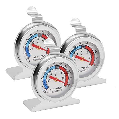 Kühlschrank-Thermometer, großes Edelstahl-Zifferblatt, Kühlschrank-Gefrierschrank, Thermometer mit Haken und Ständer zum Aufhängen, 3 Stück