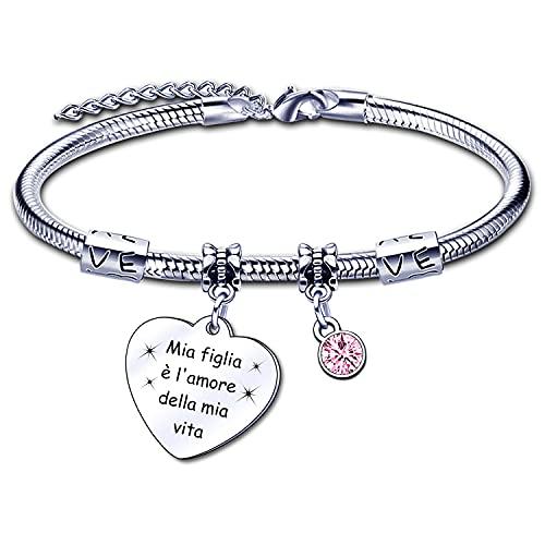 Regalo para pulsera de hija pulsera de mujer 'Mi hija es el amor de mi vida' corazón colgante con grabado para cumpleaños o Navidad