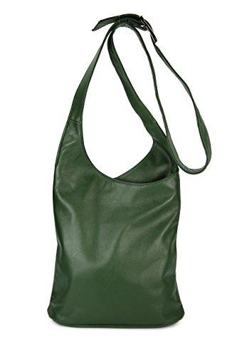 Belli® ital. Schultertasche Cross Over Bag Nappa Leder Handtasche - 24x28x8 cm (B x H x T) (grün)
