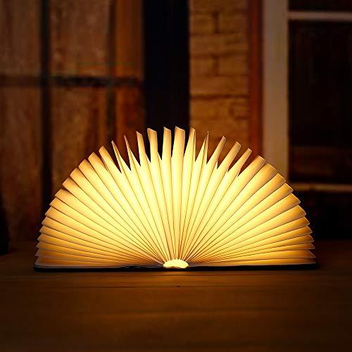 PORTATO Libro Light Pieghevole Luce di atmosfera in legno con 2500 mAh batteria al litio luce notturna, adatta per: luce notturna/a comodino/lampadario/lampadario/a parete/illuminazione este