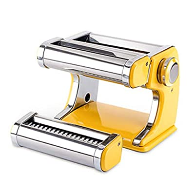 QERNTPEY Heavy Duty Steel Construction Pasta Machine Pasta Maker 7 Adjustable Thickness Settings Noodles Maker with Hand Crank Perfect for Spaghetti Fettuccini Lasagna All in One Adjustable