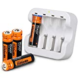 Rechargeable AA Batteries,Hixon 3500mWh(2330mAh) AA Rechargeable Batteries,1.5V Constant Output,1500 Cycles Rechargeable Lithium AA Batteries,4counts with 2H Fast Charger,CE/ROHS/PSE Certified