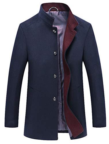FTCayanz Herren Mantel Slim Fit Wolljacke Übergröße Business Windbreaker Lange Trenchcoat Jacken Navy XL