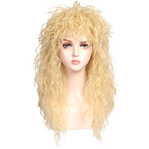 ColorGround Long Curly 80s Rocker Mullet Cosplay Wig for Women