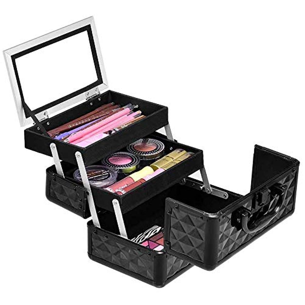 事業内容ラッシュ層Costway コスメボックス メイクボックス 鏡付き 大容量 持ち運び 化粧品収納ボックス プロ用 化粧箱 コスメ収納ボックス ブラック