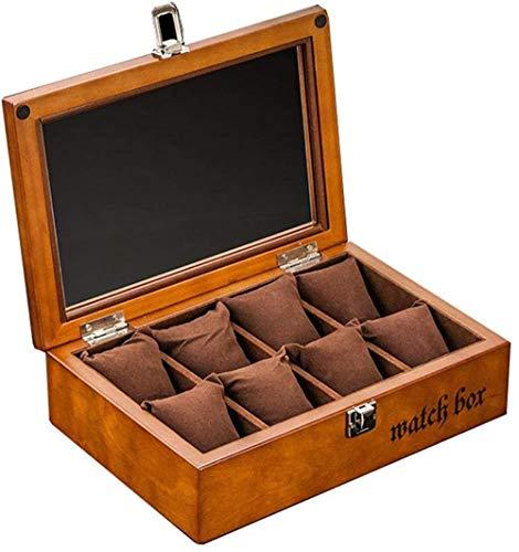 MMYNL Caja de Reloj de Madera de 8 dígitos Organizador cosmético Caja de presentación de Reloj con Tapa de Vidrio Caja de Almacenamiento de Pulsera de joyería 27,8 * 18,8 * 7,6 cm