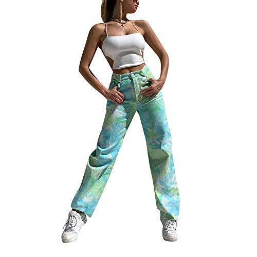 Mujeres Y2K Tie Dye Jeans recto pierna ancha pantalones de mezclilla cintura alta lápiz pantalones E-Girls Casual Baggy Vintage Streetwear