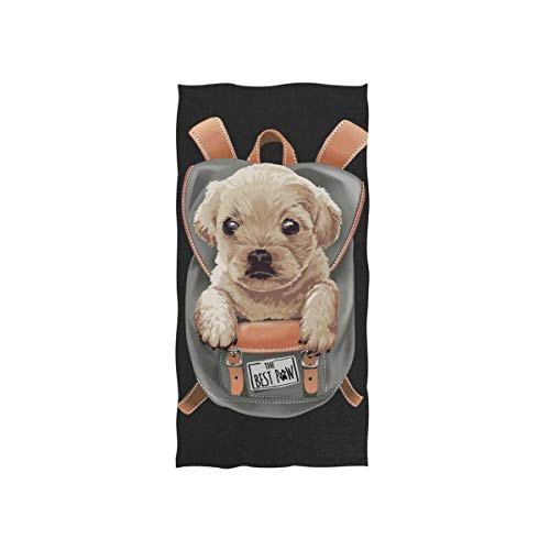 Rodde Handdoeken 15x30 Inch Leuke Puppy Hond in Rugzak 3D Yoga Gym Katoen Gezicht Spa Absorbens Multipurpose voor Badkamer Keuken Hotel Home Decor Set