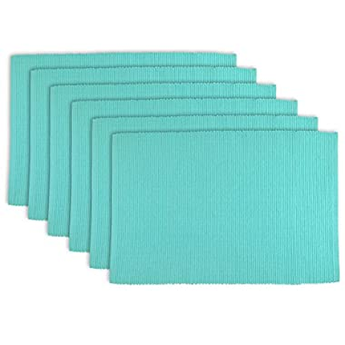 DII 100% Cotton, Ribbed 13x 19 Everyday Basic Placemat Set of 6, Aqua