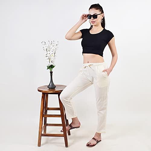 Pistaa's Women's Pleat-Front cigrette Pants (Off White, 34)