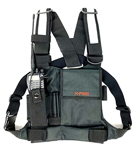 X-FIRE Single Radio Chest Harness w/ Tool Pockets and 3m Reflective Front Pouch Holder Holster for Two Way Walkie Talkie GPS Firefighter EMS EMT Tactical SAR Search Rescue Refineries Construction