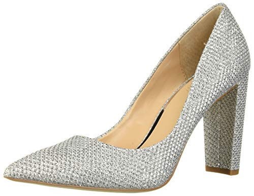 Jewel Badgley Mischka Women's RUMOR Shoe, Silver Fabric, 8 M US