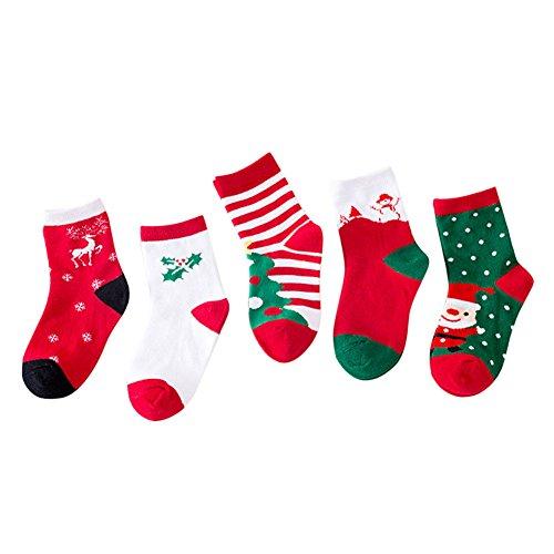 Chaussettes compatible avec LAEMILIA Enfants Filles Garçon Bébé Noël Déguisement 1-12 ans Chaussons à Motif Père Noël Bonhomme (1-3 ans, Rouge)