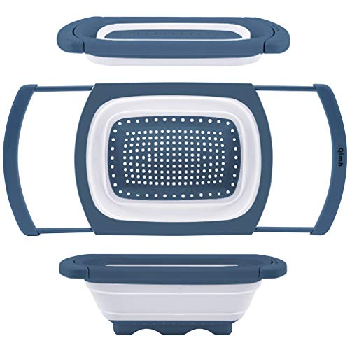 Qimh Colander Collapsible | Over The Sink Silicone Kitchen Strainers and Colanders with Extendable Handles | Veggies Fruit and Pasta Foldable Strainer for Kitchen 6Quart BPA Free