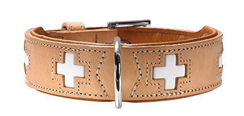 HUNTER SWISS Hundehalsband, Leder, hochwertig, schweizer Kreuz, 55 (M), natur/beige
