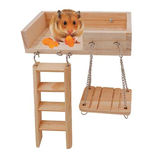 JanYoo Gerbil Toys Dwarf Hamster Wood Platform...