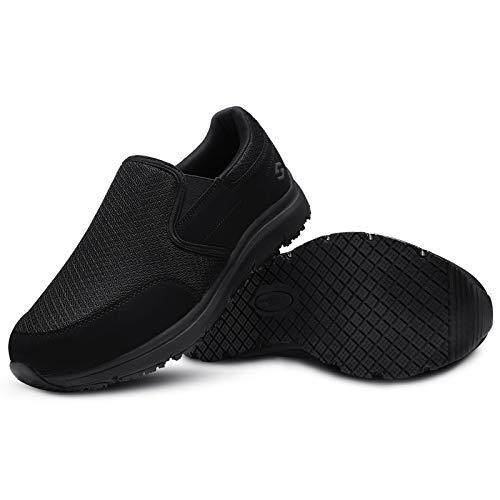 HISEA Non Slip Shoes for Men Lightweight Chef Shoes Nurse Shoes Comfortable Mens Slip On Shoes Black Size 10.5