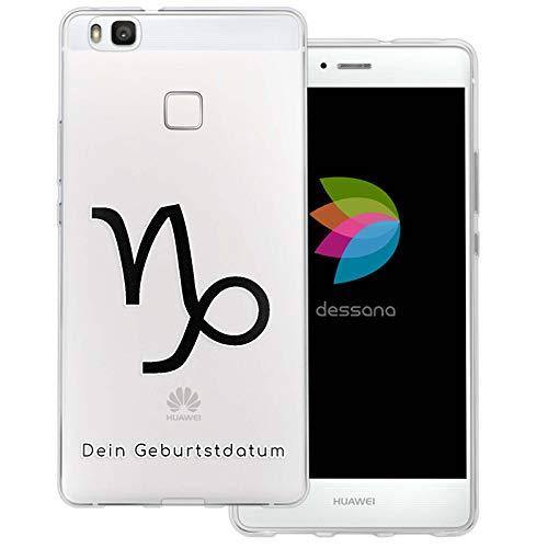dessana sterrenbeeld met datum transparante silicone TPU beschermhoes 0,7 mm dunne mobiele telefoon soft case cover tas voor Huawei, Huawei P9 Lite, Steenbok verjaardag