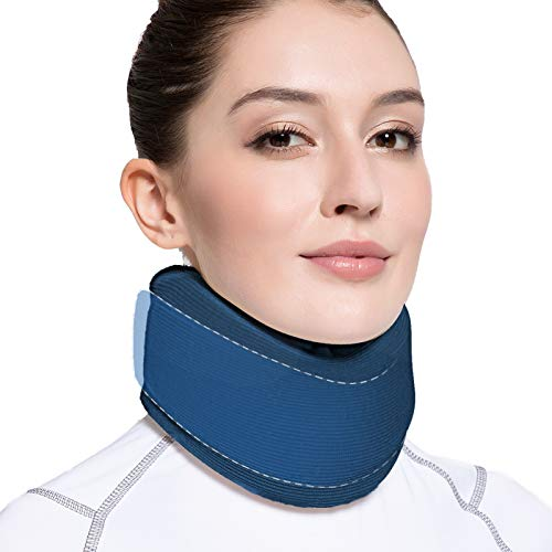 VELPEAU Neck Brace -Foam Cervical Collar - Soft Neck Support Relieves Pain & Pressure in Spine - Wraps Aligns Stabilizes Vertebrae - Can Be Used During Sleep (Enhanced, Blue, Medium, 3″)