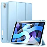 Ztotop Case for New iPad Air 4 10.9 Inch 2020 (4th Generation)/iPad Pro 11'' 2018 1st Gen with Pencil Holder, Lightweight Soft TPU Back and Trifold Protective Cover, Support Auto Sleep/Wake, Sky Blue